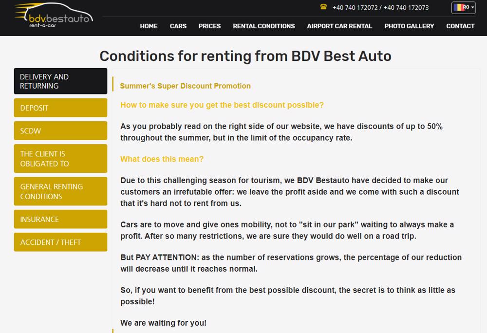 Conditions for renting from BDV Best Auto